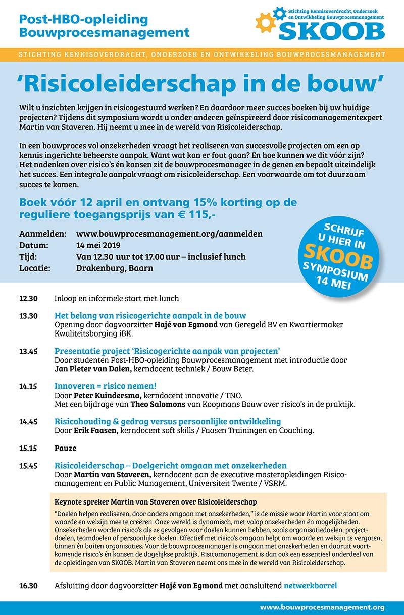 Flyer programmaoverzicht symposium 'Risicoleiderschap in de bouw' - SKOOB | opleiding Bouwprocesmanagement